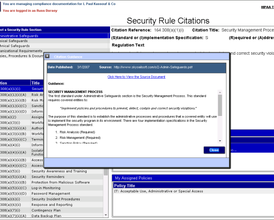 Security Rule Citations & Guidance